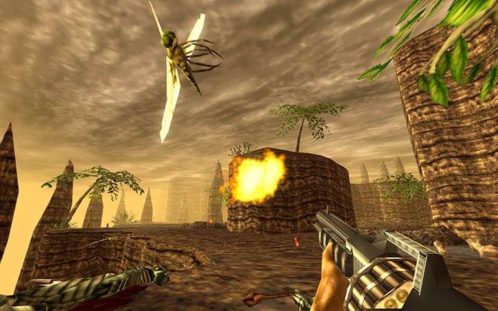Mowing down killer bugs with the Auto-shotgun in Turok: Dinosaur Hunter remastered.