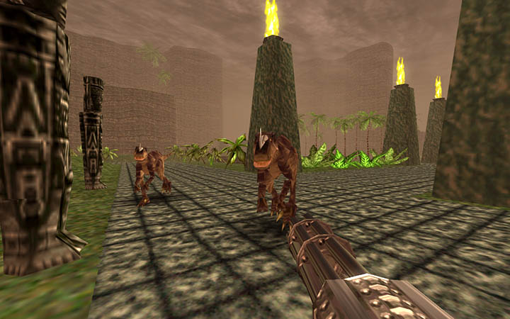 Tal'Set faces off against raptors in Turok: Dinosaur Hunter remastered.