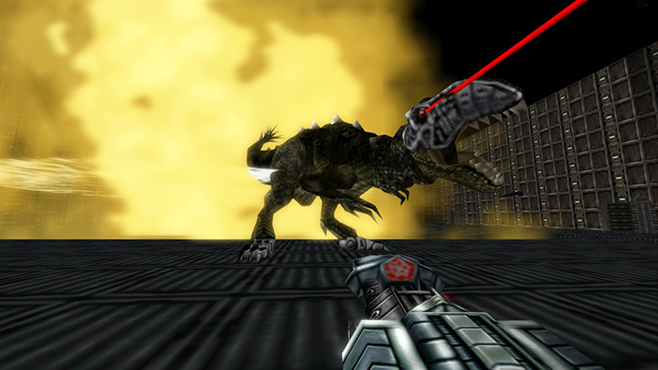 Taking on a cyborg T-Rex in Turok: Dinosaur Hunter remastered on Nintendo Switch, Xbox One and PC.
