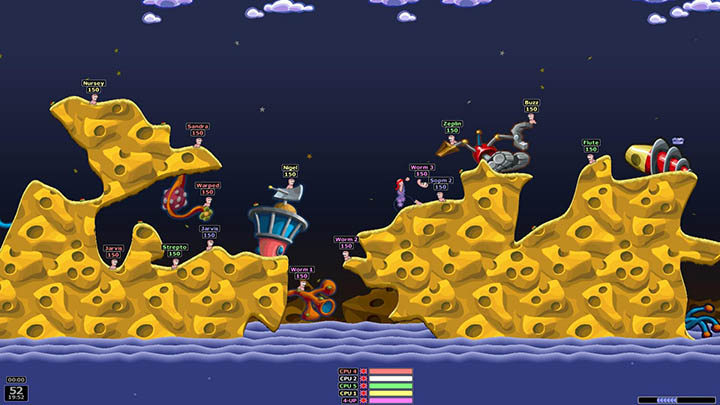 Opposing teams of Worms make Swiss cheese out of one another in Worms Armageddon.