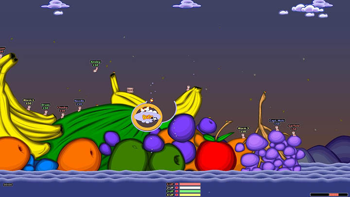 Worms battle it out on a stage made of fruit in Worms Armageddon on PC.