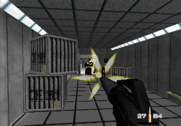 James Bond takes aim at enemy guards in GoldenEye 007's Snowy - a custom mission by ZKA.