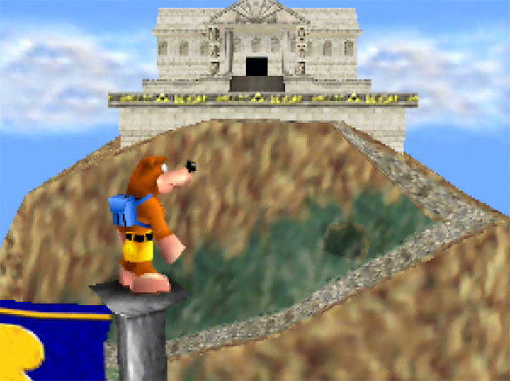 Banjo eyes up a temple in the background of Super Smash Bros. Melee's Hyrule Temple stage - remade in Banjo-Kazooie.