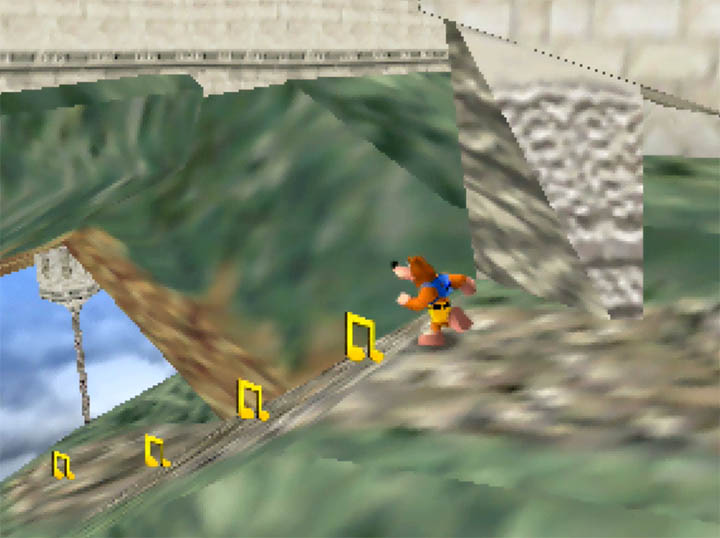 Heading towards the lower area of the Hyrule Temple stage in Banjo-Kazooie: Smash Bros. Temple mod.