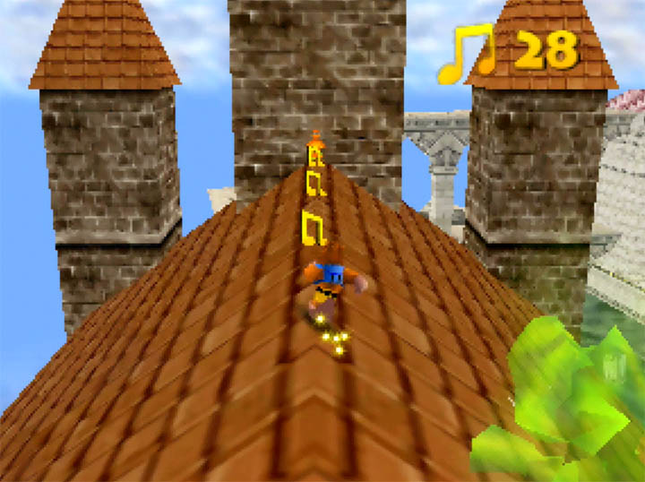 Collecting musical notes on the rooftop of the Temple of Time in Banjo-Kazooie Hyrule Temple mod.