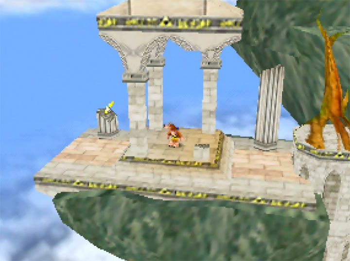 Starting in the ruins of Hyrule Temple, the Super Smash Bros. Melee stage recreated in Banjo-Kazooie – Smash Bros. Temple mod.