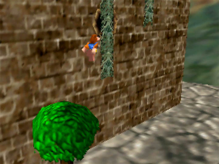 Climbing vines in Banjo-Kazooie: Smash Bros. Temple - a mod that puts the Super Smash Bros. Melee stage into the game as a playable level.