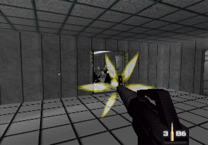Mowing down hordes of guards in the GoldenEye 007 snowy mission.