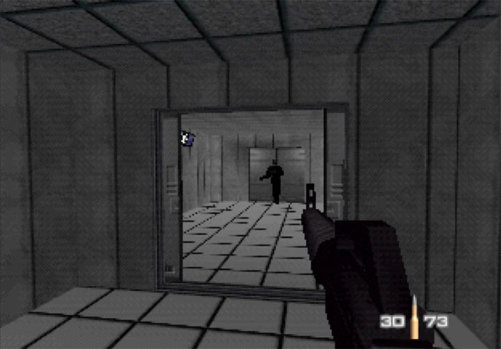 The bunker in the GoldenEye Snowy mission is a maze of similar-looking rooms, designed to confuse you.