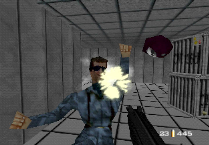 "A guard gets a face full of ZMG bullets in GoldenEye 007 custom mission, ""Snowy""."