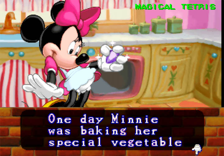 Minnie Mouse discovers a magical stone while baking in Magical Tetris Challenge for N64.