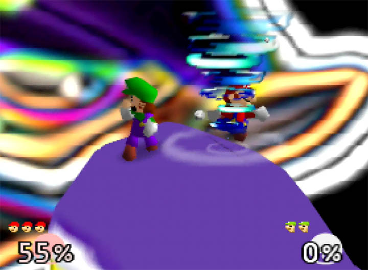 The Super Smash Bros. 64 Waluigi stage hazard, which is a tornado.