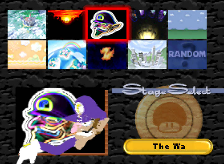 "The Super Smash Bros. 64 stage select screen featuring ""The Wa"", a custom Waluigi stage."