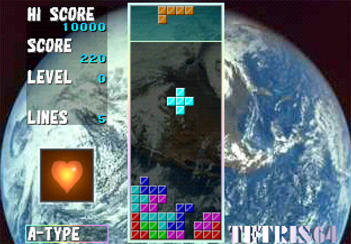 Tetris 64's Bio Tetris mode, which uses the N64 Bio Sensor accessory to influence the gameplay.