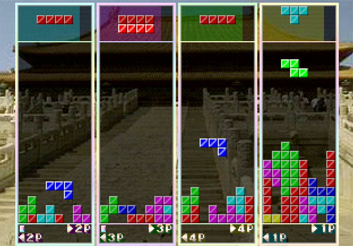 Four players go head to head in Tetris 64's multiplayer mode.