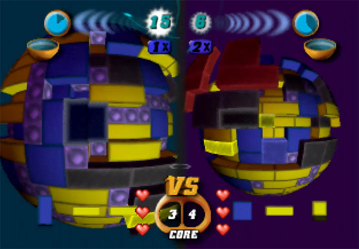 Two players play against one another in Tetrisphere on Nintendo 64.