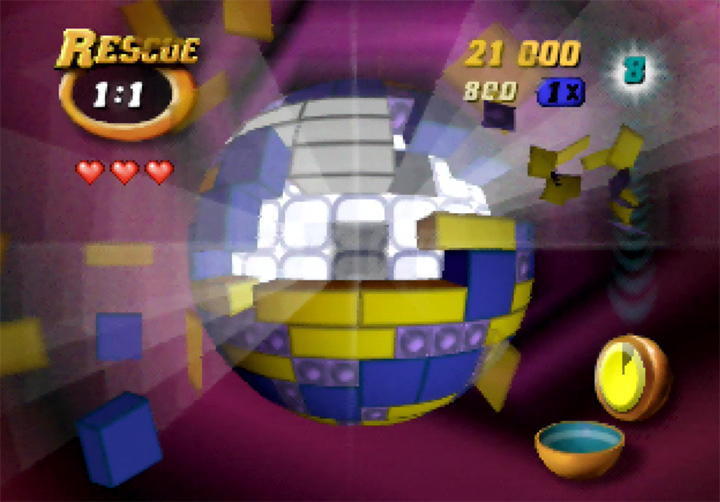 The first level of Tetrisphere's Rescue mode on N64.
