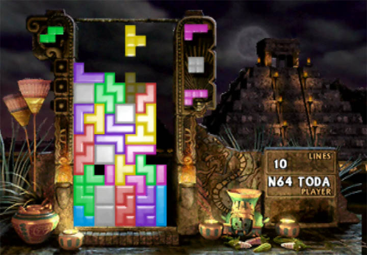 Single-player marathon mode in The New Tetris on N64.