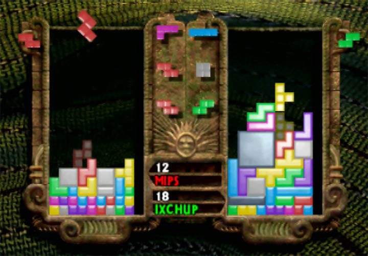 Two players go head to head in The New Tetris - one of four N64 Tetris games.