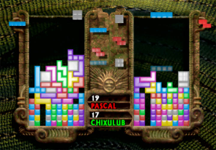 A two-player versus game in The New Tetris on N64.