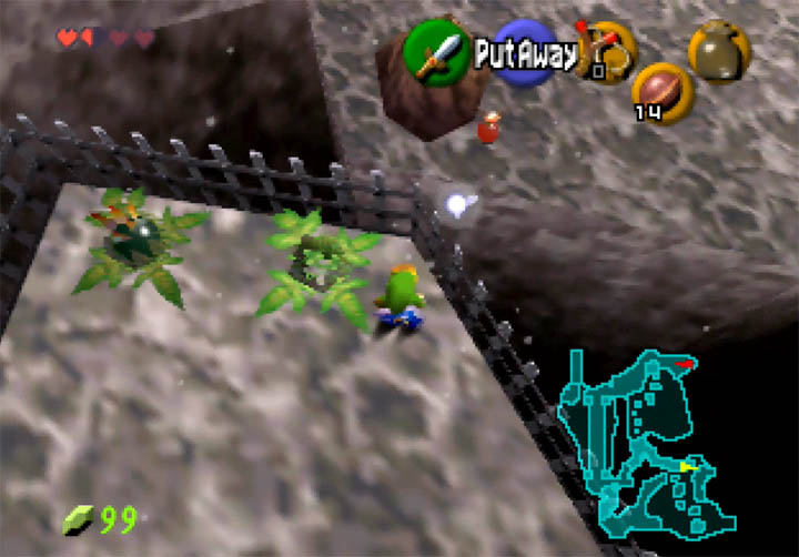 Using the bomb plant to destroy a boulder in Zelda 64DD expansion game.