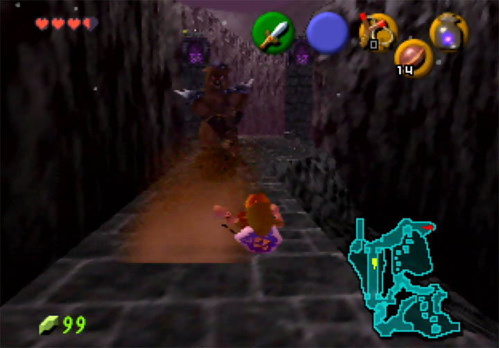 Link gets sent flying by a Club Moblin in The Legend of Zelda: Ocarina of Time 64DD expansion