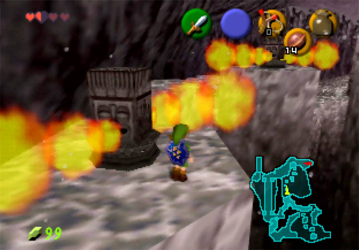 Navigating treacherous platforms containing flame pillars in Zelda 64: Dawn & Dusk on Nintendo 64.