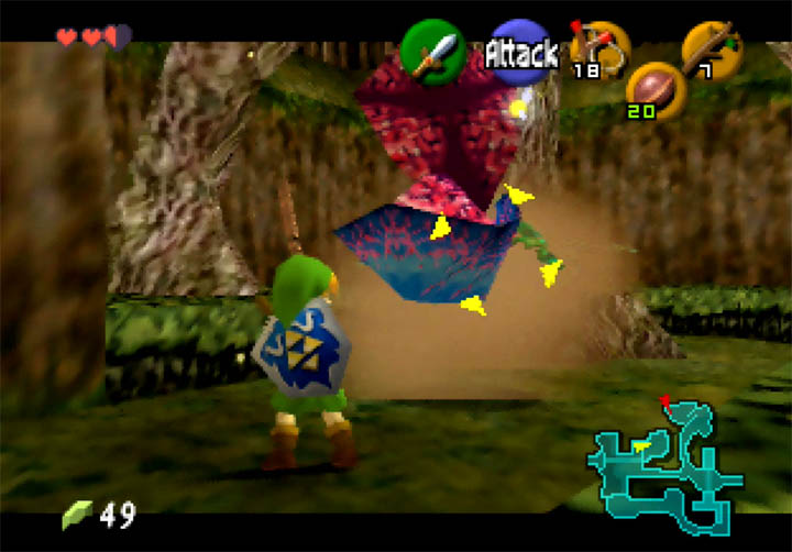 Link confronts a Giant Deku Baba in Legend of Zelda on N64.