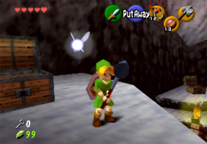 Young Link holding the Megaton Hammer in Zelda 64: Dawn & Dusk (N64).