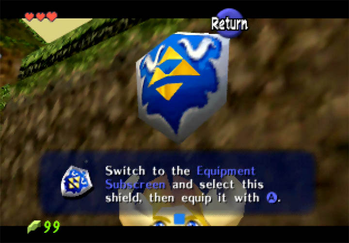The Metal Shield item, sporting a bespoke design in Zelda 64: Dawn & Dusk mod for Nintendo 64.