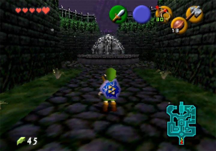 A fountain sits at the centre of the Dusk Palace Gardens in Zelda 64: Dawn & Dusk.