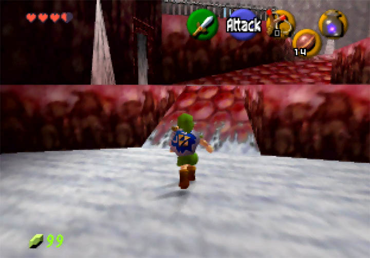 Entering the peculiar-looking Red Ice Cave in Zelda 64: Dawn & Dusk.