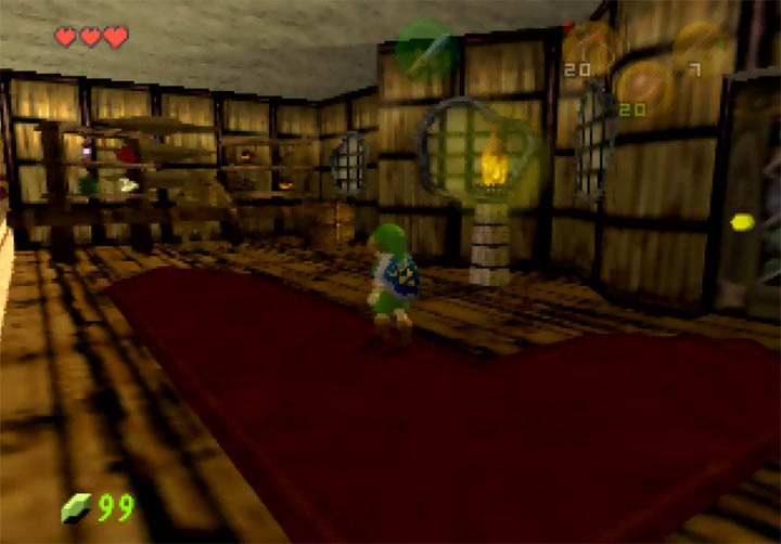 Link enters the shop in Dawngrove to purchase items for his adventure in Zelda 64: Dawn & Dusk on N64.