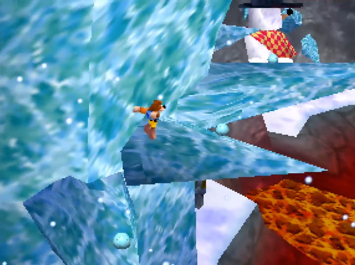 Banjo jumps across treacherous icicle platforms in Worlds Collide's Hailfire Hole stage.
