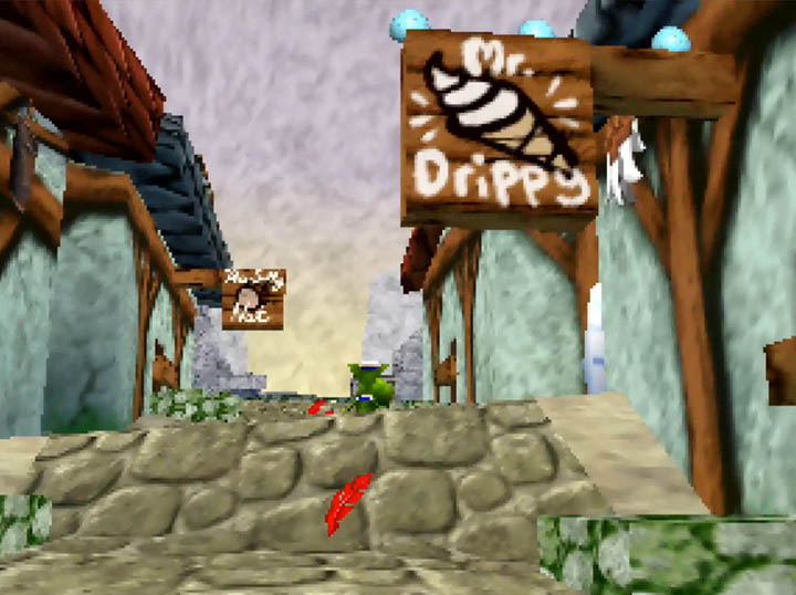 """Mr Drippy"" and ""The Salty Nut"", two of Ol' Nabnut's Port's local businesses in Banjo-Kazooie: Worlds Collide."