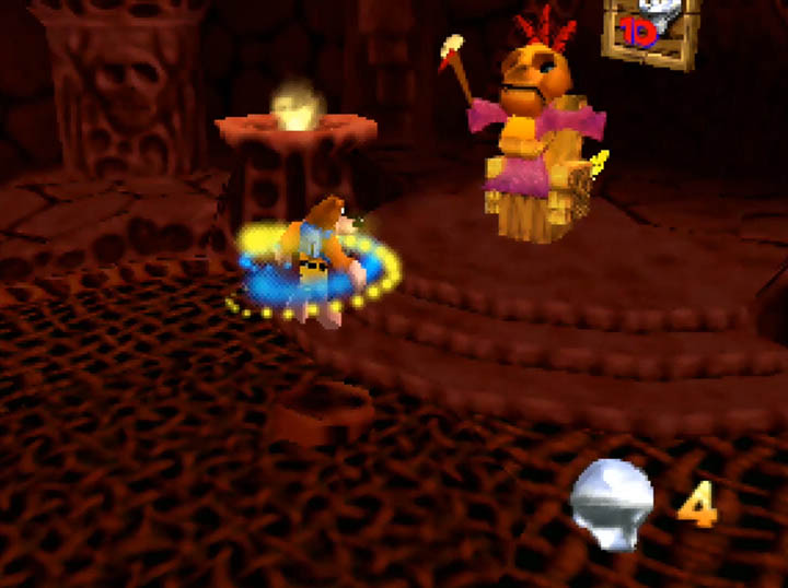 Mumbo Jumbo performs a transformation spell on Banjo and Kazooie in the Worlds Collide mod.