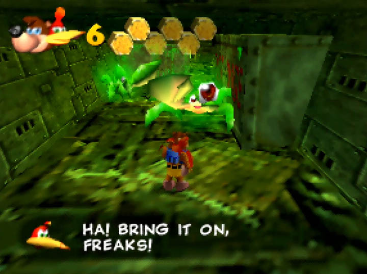 Banjo and Kazooie prepare to battle Mutie-snippets in Banjo-Kazooie: Worlds Collide (N64).