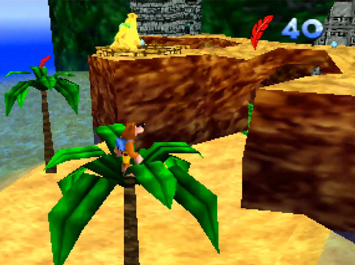Banjo explores Rich Ruin Cove, a stage from the Worlds Collide mod for N64.