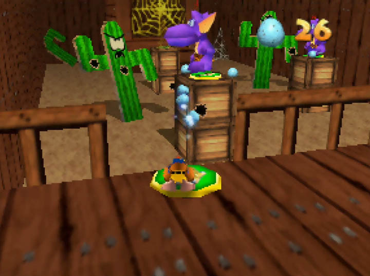 Kazooie fires eggs at distant enemy in Banjo-Kazooie: Worlds Collide on N64.