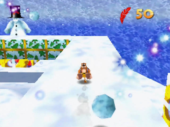 Sir Slush the Snowmen throw snowballs at Banjo and Kazooie in the Worlds Collide mod.