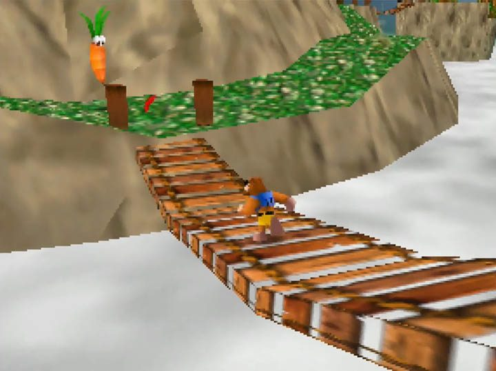 Banjo runs across a bridge in the Worlds Collide mod's Spiral Molehill stage.