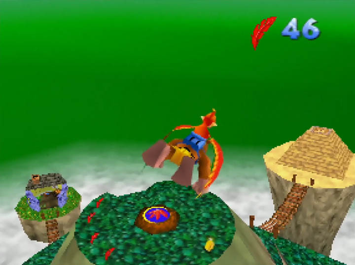 Banjo and Kazooie soar over Spiral Molehill in the Worlds Collide mod for N64.