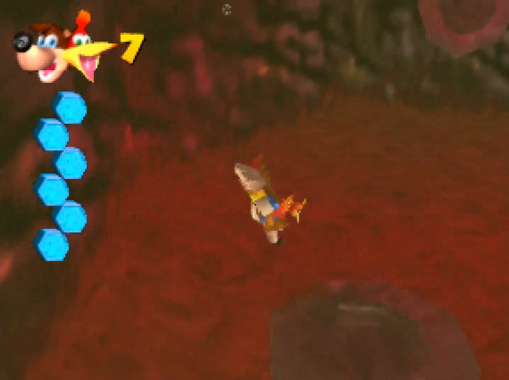 Swimming underwater in Banjo-Kazooie: Worlds Collide for N64.