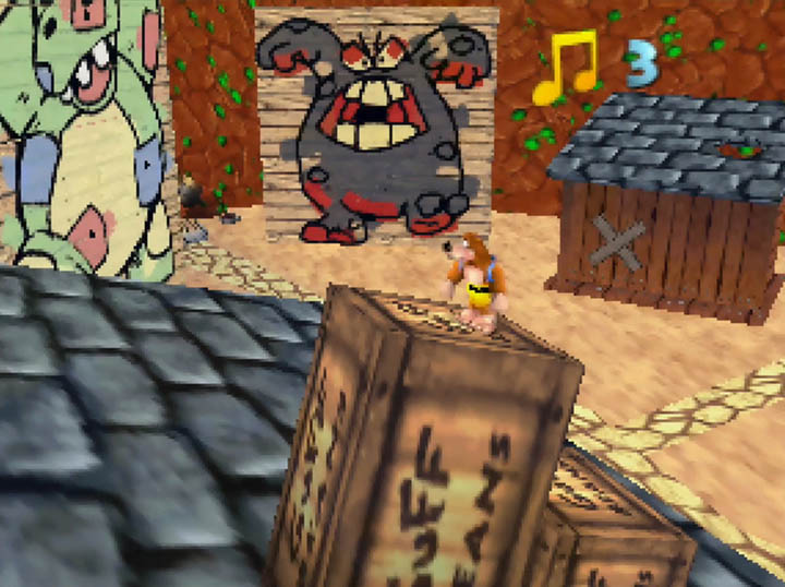 Banjo stood atop a rooftop in Banjo-Kazooie: Worlds Collide's WitchyWest world.