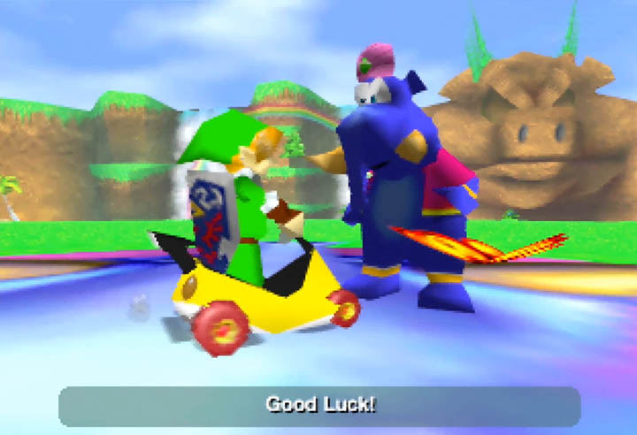 Playing as Link from The Legend of Zelda in Diddy Kong Racing's Adventure mode.