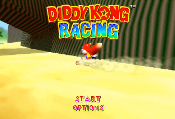 An incorrect wall texture in Diddy Kong Racing as a result of modding areas from Ocarina of Time into the game.