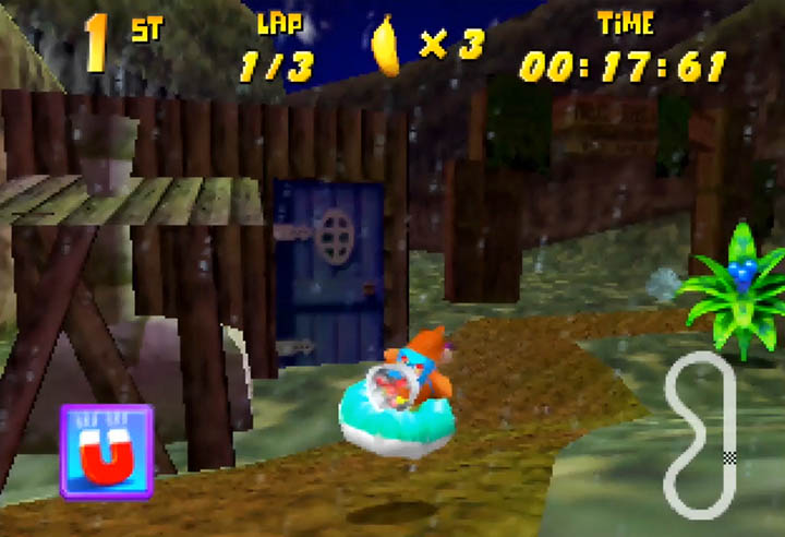 Banjo zips past Dampé's Hut in the Diddy Kong Racing/Ocarina of Time crossover mod's Graveyard track.