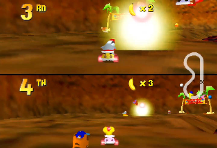 A multiplayer game of the Diddy Kong Racing x Ocarina of Time mod on N64.