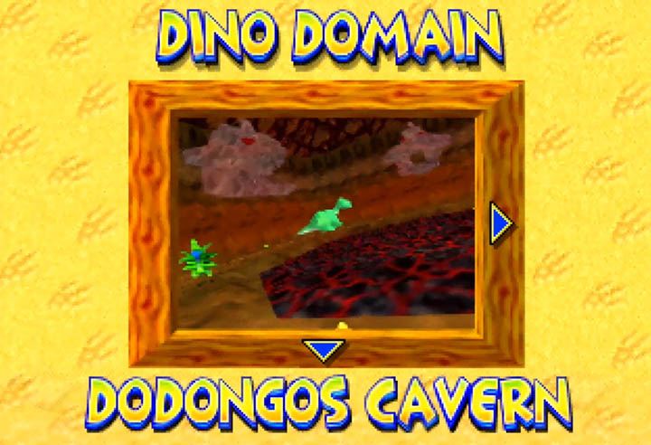 Selecting Dodongo's Cavern in the Diddy Kong Racing track select screen.