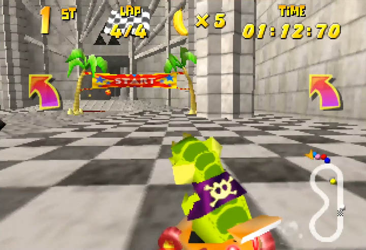 Krunch goes for first place on the Temple of Time track in the Diddy Kong Racing x Ocarina of Time mod for N64.